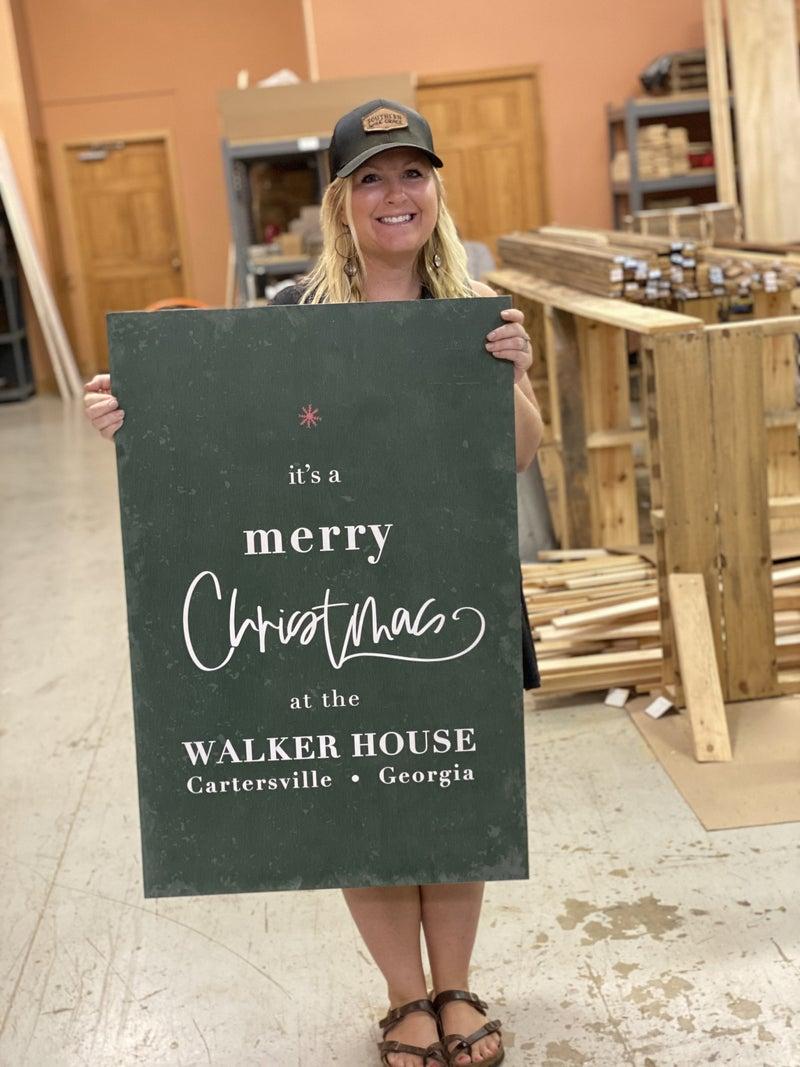 Custom Green Merry Christmas Tree Sign