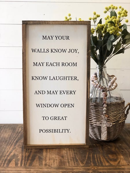 """May Your Walls"" Framed Wood Sign"