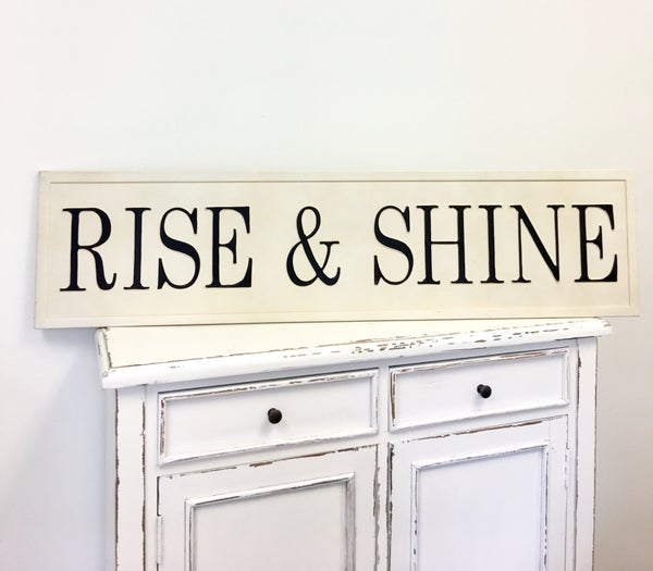 Metal Embossed Rise & Shine Sign