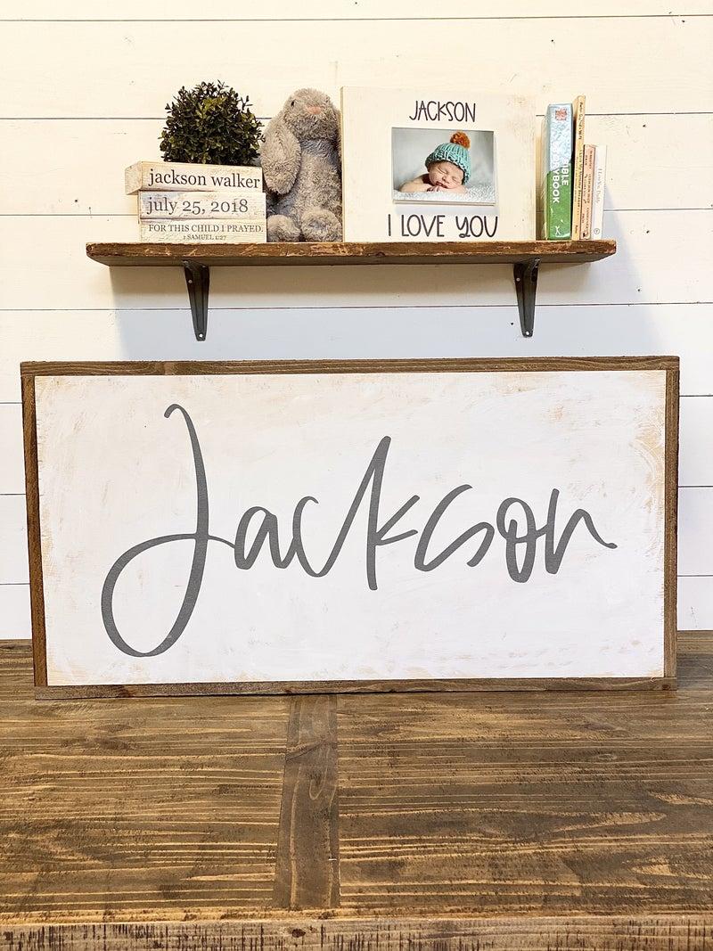 Custom Name Nursery Sign-Grey Letters