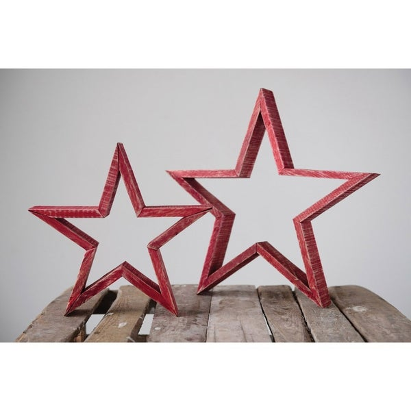 Red Wooden Star, 2 sizes