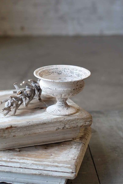 Distressed White Metal Urn