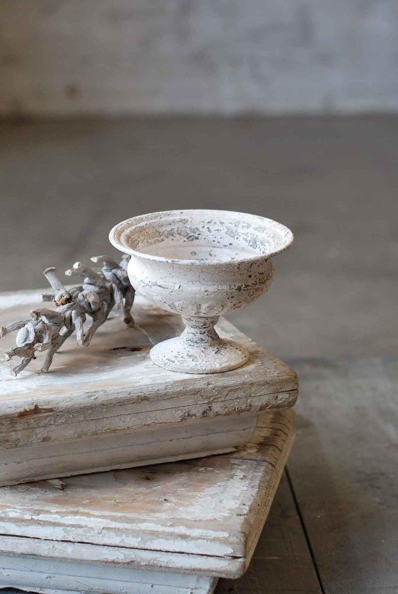 Distressed White Metal Urn
