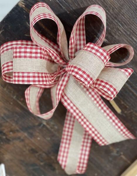 Handmade Red Gingham & Burlap Bow