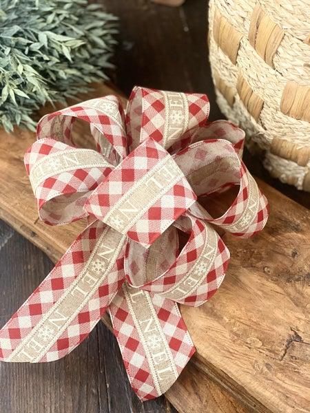 Handmade Christmas Bow - Noel