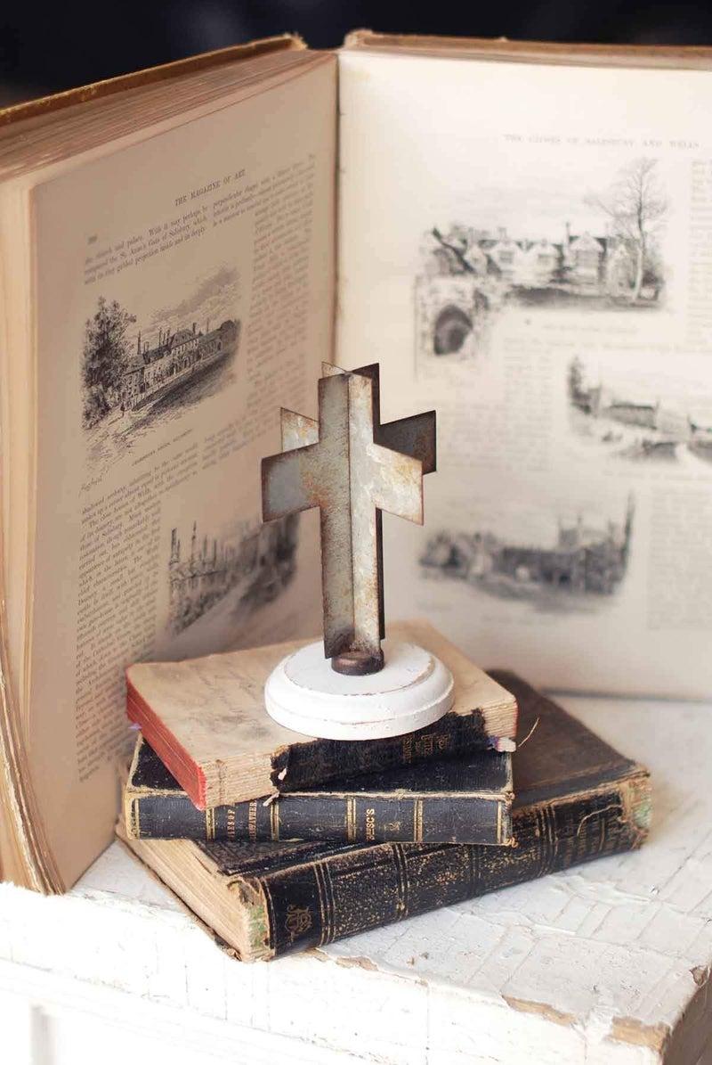 Galvanized Grace Cross w/ Wood Base
