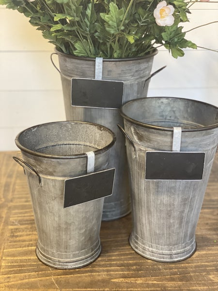 Zinc Buckets with Handles and Chalkboard Sign