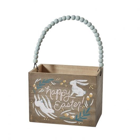 Wooden Easter Box with Beaded Handle