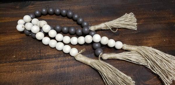 Wood Beads with Jute Tassel