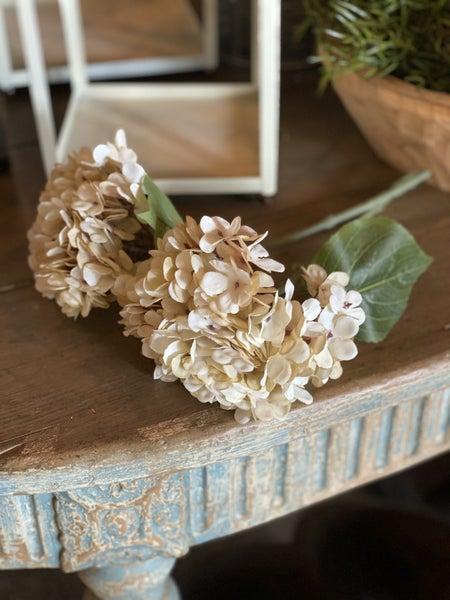 Antique Ivory Hydrangea Pick, Pair