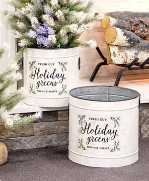 Holiday Greens Distressed Metal Pail
