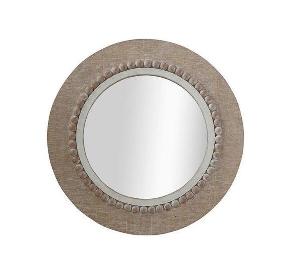 """23.5"""" Round Farmhouse Beaded Mirror"""