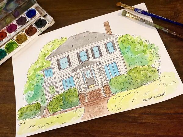 Custom Watercolor House Painting 11x15
