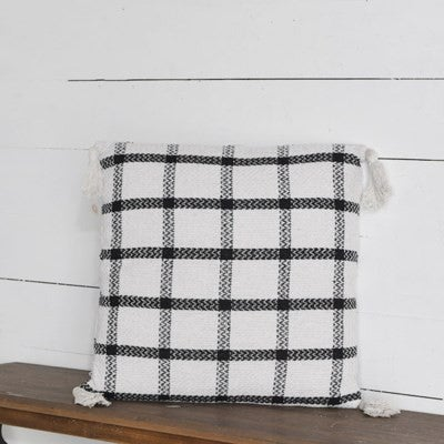"""20"""" CHECK PILLOW WITH TASSLES"""