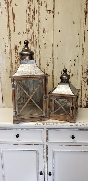 Wood Lantern with Metal Top