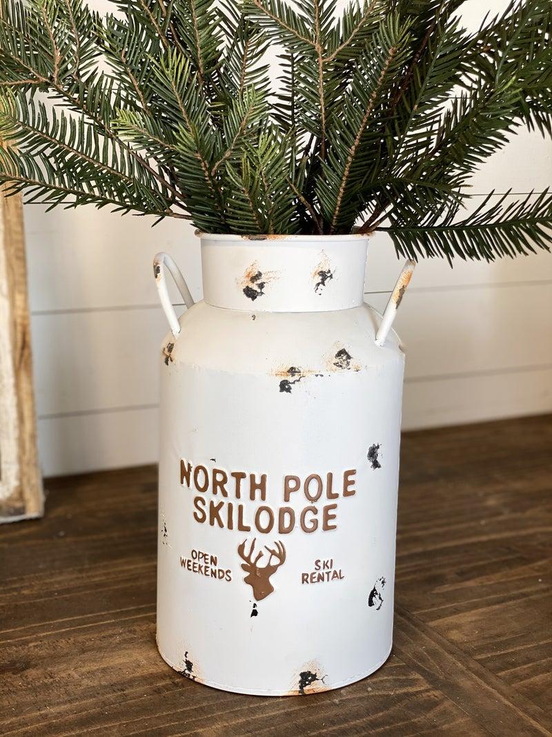 Versatile North Pole Ski Lodge Milk Can