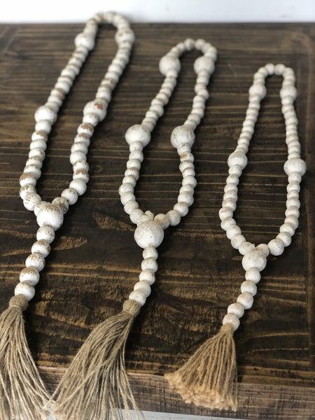 White Farmhouse Beads w/ Tassel