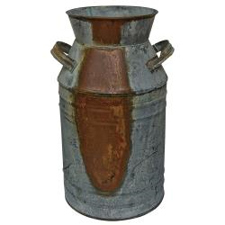 """14"""" Rusted Galvanized Milk Can"""