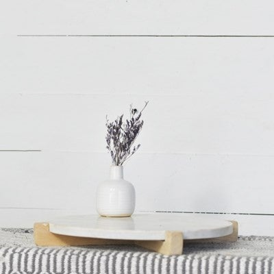 """16"""" WOOD & MARBLE SERVING TRAY"""