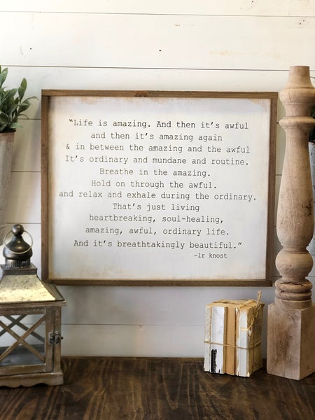 """""""Life Is Amazing"""" Framed Wood Sign"""