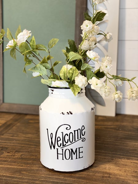 Welcome Home Metal Wall Milk Can