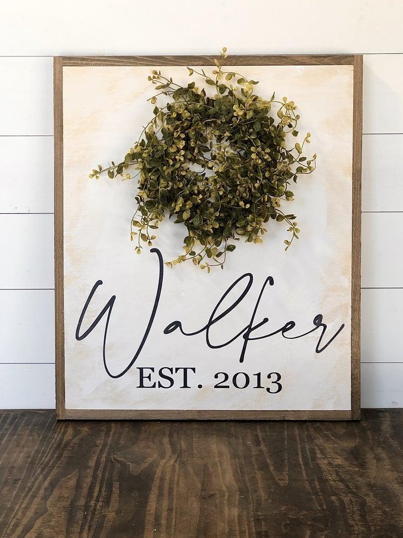 Custom Name Sign with Wreath