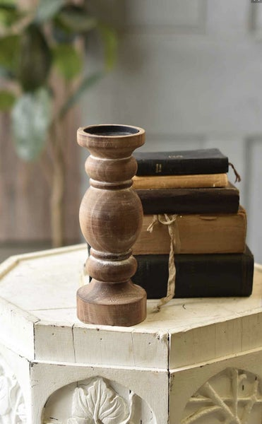 Wooden Candle Stick - Lg