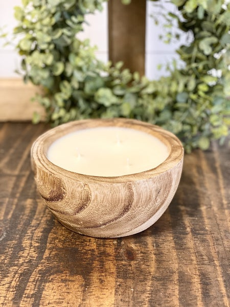 Round Wood SWG Candle Bowl