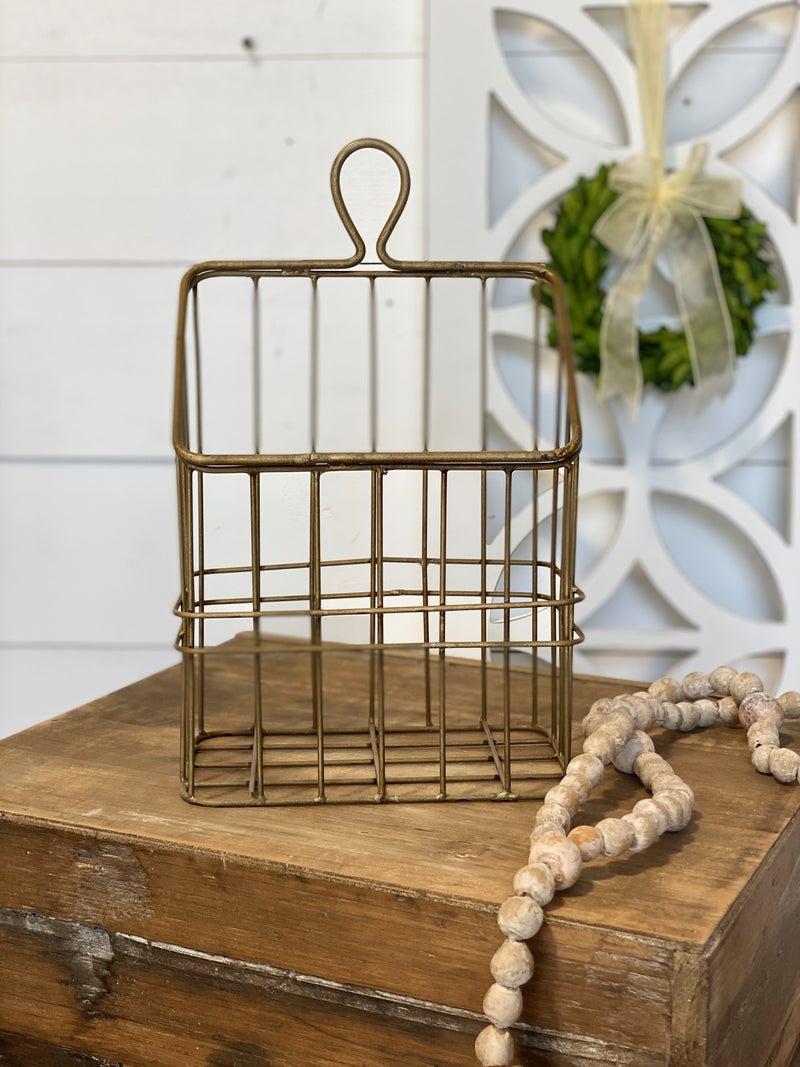 Rustic Gold Metal Basket