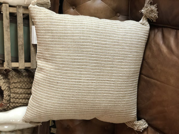 Tan Square Cotton Woven Striped Pillow w/ Tassel