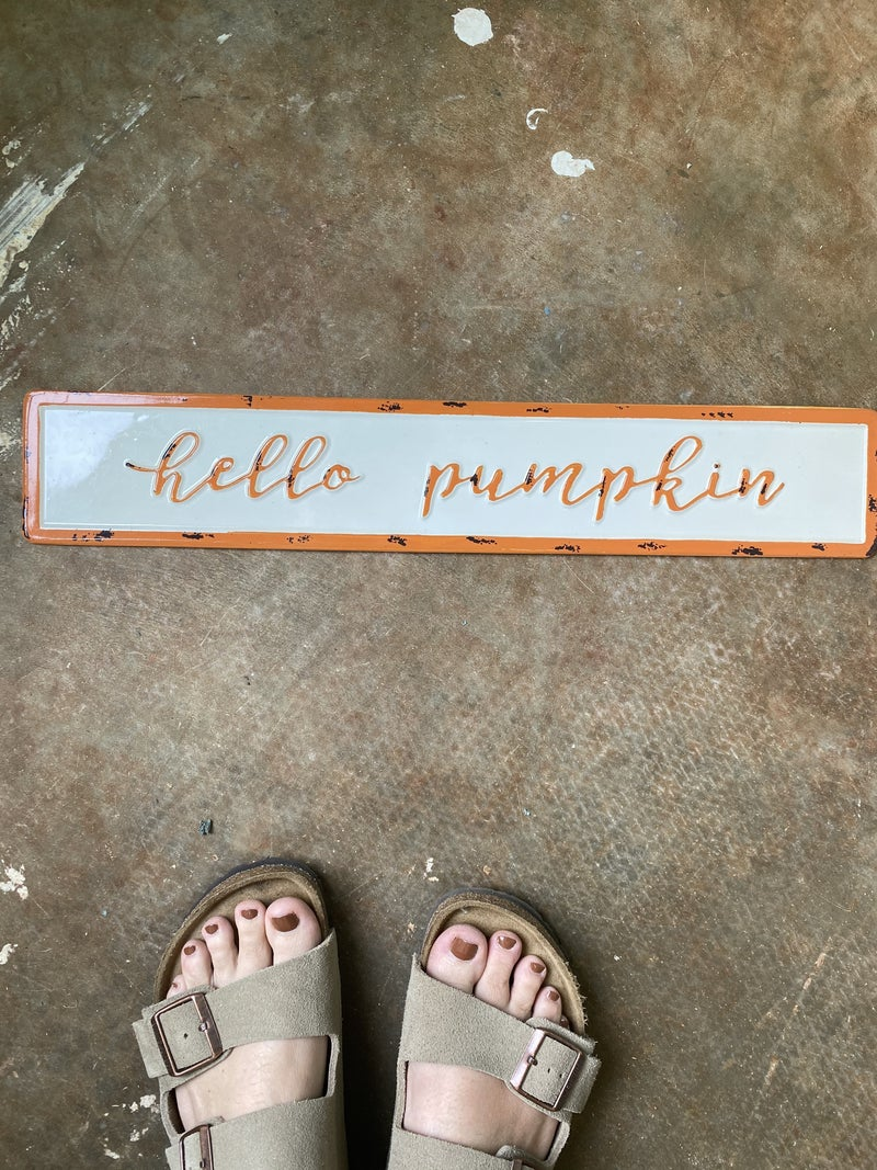 Hello Pumpkin Enamel Sign