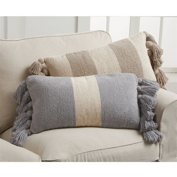 Striped Tassel Lumbar Pillow