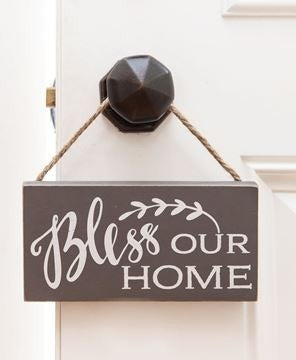 Bless Our Home Rope Hanging Sign