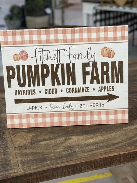 Fall Custom Buffalo Check Pumpkin Farm