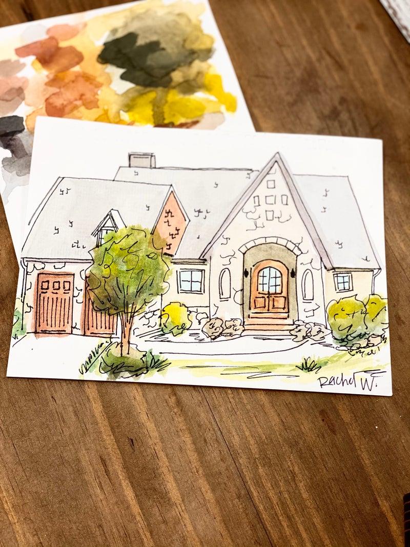 Custom Watercolor House Painting, 6x8