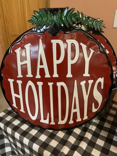 Happy Holidays Round Sign
