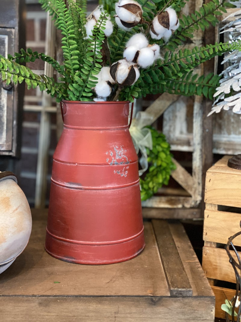 Red Metal Christmas Pail