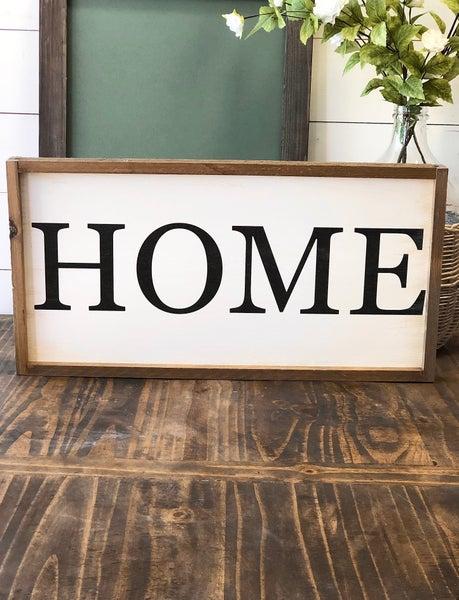 """""""HOME"""" Framed Wood Sign"""