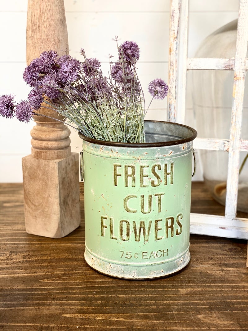 Fresh Cut Flower Bucket-Green