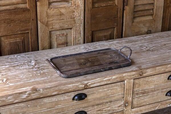 Wood and Metal Rectangular Tray