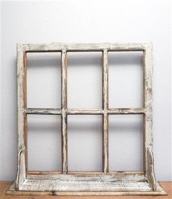 White Wash 6 Pane Window w/ Shelf