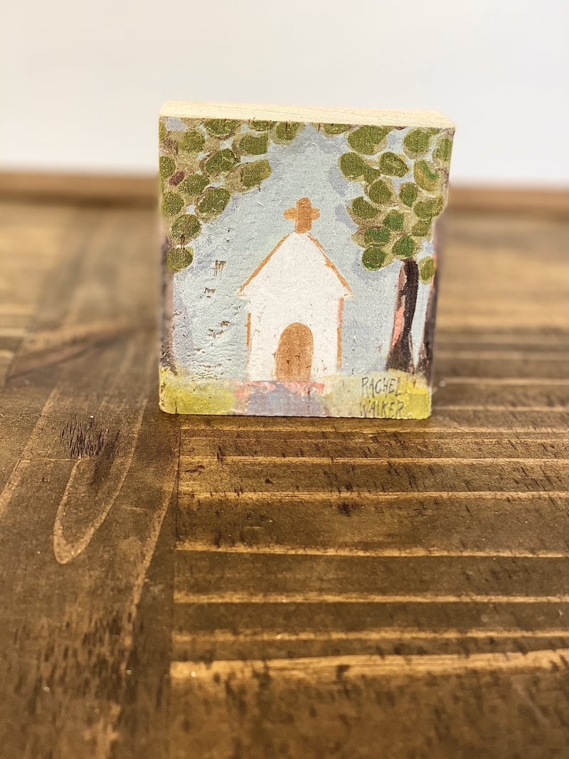 "HAPPY 3.75"" Block-Church with Trees"