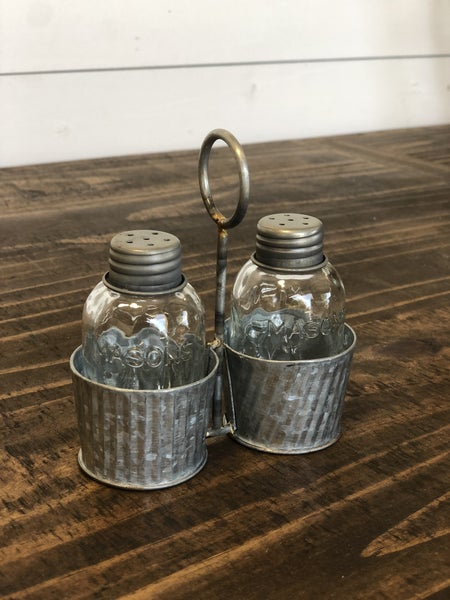 Galvanized Metal w/ Glass Salt & Pepper Shaker