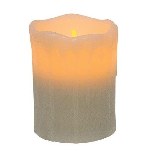 White Dripped Pillar Candle