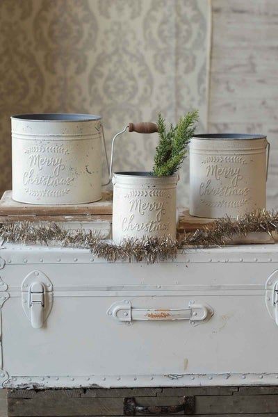 Merry Christmas Pail | Distressed Cream