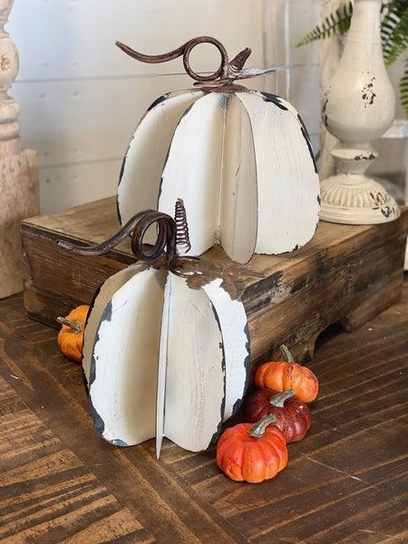 Distressed White Metal Pumpkins