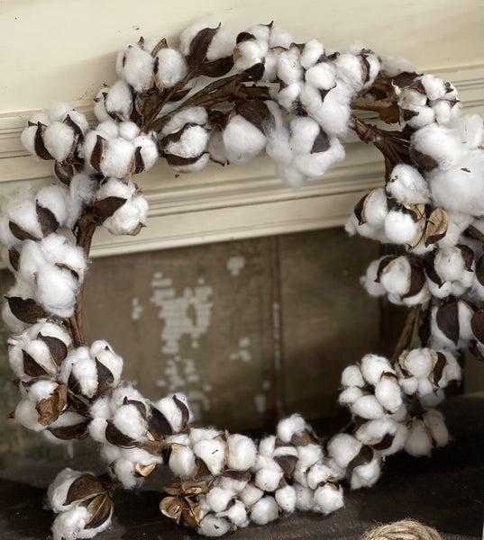 "Cotton Wreath - 17"""