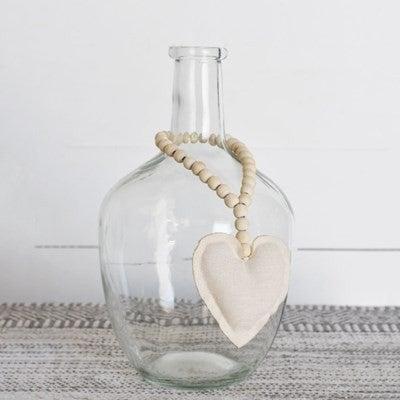 CREAM FABRIC HEART BEADS