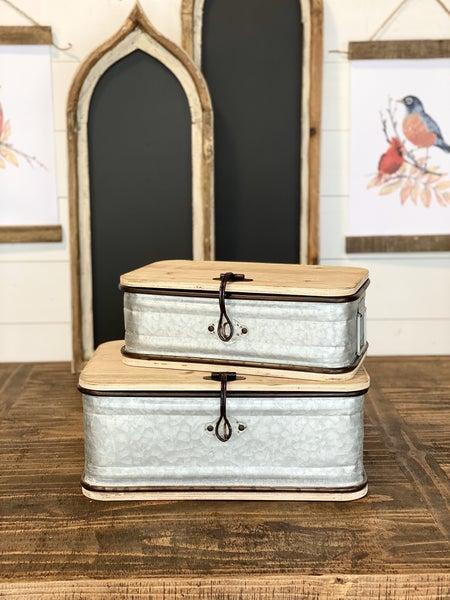 Metal Box with Wood Lid