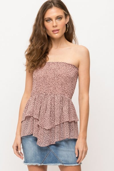 Pink Leopard Tiered Peplum Smocked Off the Shoulder Top